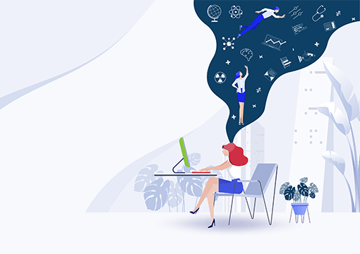 Women using desktop with imagination illustration graphic