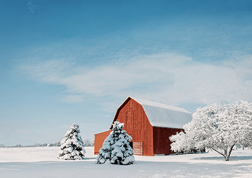 Picture Perfect Red Barn in Snow Image
